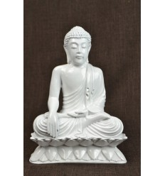 Statue of Buddha sitting in calling the earth white deco artisan zen asian