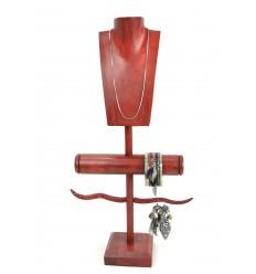 Présentoir à Bijoux pour colliers, boucles, bracelets et montres - bois massif teinte rouge