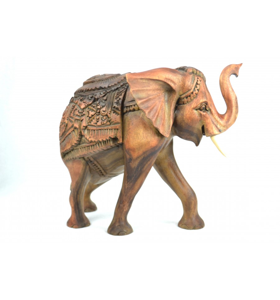 Gree Statue éléphant en bois H30cm. Pièce  rare    prezzi bassissimi