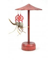 Présentoir à boucles d'oreilles forme parasol en bois massif teinte rouge H26cm