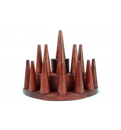 Porta-anelli / espositore per anelli (13 coni) in legno-colore rosso