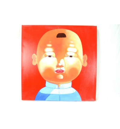 "Table ""little boy of China"" 60x60cm - original work deco chinese"