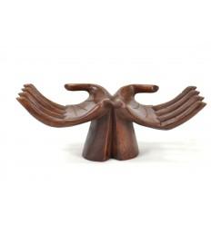 Hands door-rings / cards - solid wood hue chocolate brown