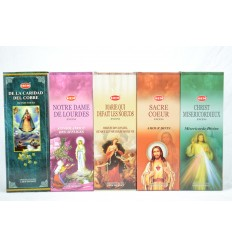 Assortment of incense of catholic prayer. Lot of 100 sticks (5 scents) mark HEM.