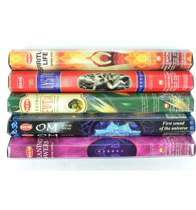 Assortment of incense special Yoga Spirituality, Meditation, 5 varieties / 100 sticks brand HEM.