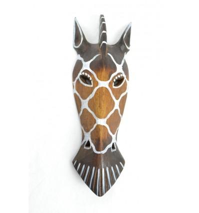 Masque Zèbre en bois 30cm décoration ethnique.