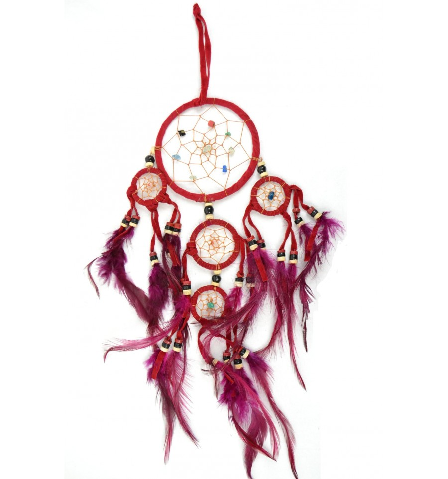 achat dreamcatcher attrape r ves indien rouge original et pas cher. Black Bedroom Furniture Sets. Home Design Ideas