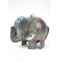 Candle holder / Lantern elephant in wrought iron craft. Deco child's room.