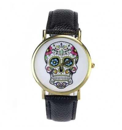 "Shows fantasy ""Calavera"" pattern skull colorful - strap: leatherette black."