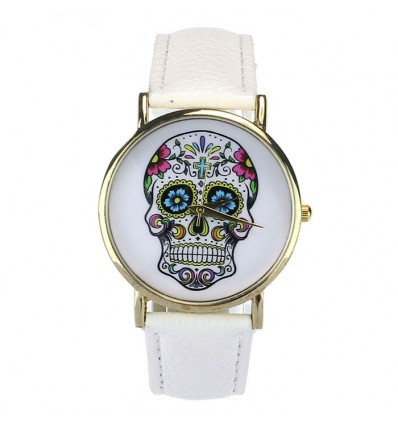"Shows fantasy ""Calavera"" pattern death's head, mexican - bracelet leatherette white."