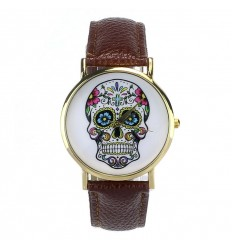 "Shows fantasy ""Calavera"" pattern death's head multicolor - strap: leather-like brown."