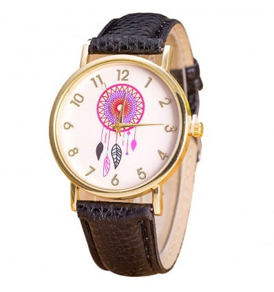 "Watch fantasy wife ""Dreamcatcher"" motif Catches Dreams - black strap"
