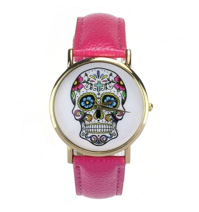 "Shows fantasy ""Calavera"" pattern death's head multicolor - strap: imitation leather, pink."