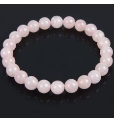 Bracelet Lithothérapie en Quartz rose naturel - Paix et Amour