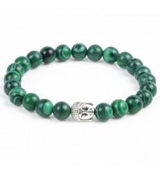 Bracelet en Malachite + perle Bouddha. Livraison gratuite.