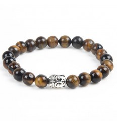 Bracelet Tiger Eye natural + pearl Buddha. Free shipping.