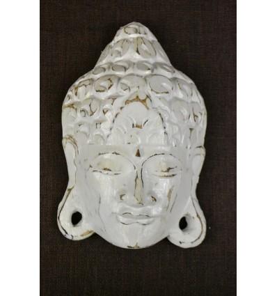 Masque de Bouddha mural H20cm en bois. Fabrication artisanale de Bali.