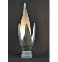 Bedside lamp ethnic chic in leaves of coconut palm. handcrafted.