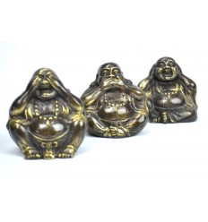 "Statuettes ""3 Buddhas of wisdom"", in solid bronze."