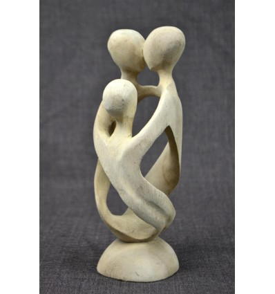 Statuette abstract Family h20cm of exotic wood, gross. African Art.