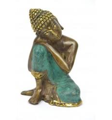 Statuette Bouddha penseur en bronze véritable, style antique.