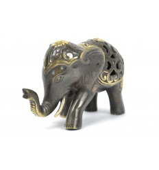 Figurine elephant trunk up in the air. Real bronze Asia.