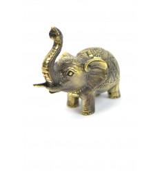 Statuette éléphant trompe en l'air, porte-bonheur en bronze.