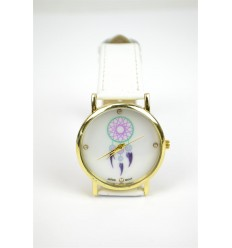 "Watch fantasy woman ""Boho Chic"" motif Catches Dreams - white strap"