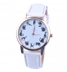"""Mostra fantasia """"12 gatti"""" - braccialetto in similpelle bianca. Spedizione gratuita !"""
