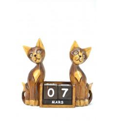 Grande calendario perpetuo in legno, decorazioni 2 Gatti. Regalo insegnante.