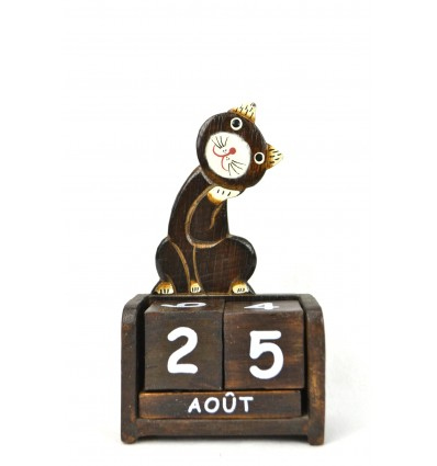 Calendario perpetuo simpatico Gatto in legno. Deco camera del bambino.