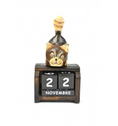 Small perpetual calendar, wooden decoration cat. Gift child.
