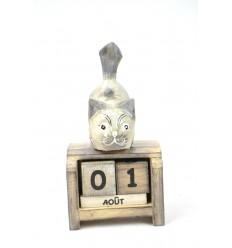 Piccolo calendario perpetuo in legno, grigio cat. Regalo bambino.