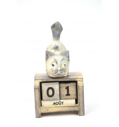 Small perpetual calendar made in wood, grey cat. Gift child.