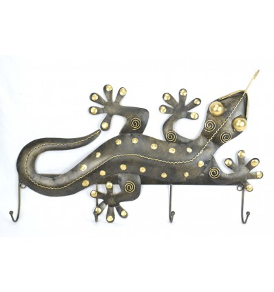 Patere wall, coat rack Gecko 4 hooks wrought iron craft. Deco ethnic.