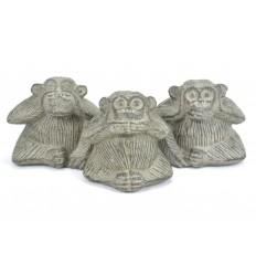 Les 3 singes de la sagesse. Statuettes déco en pierre de Java grise.