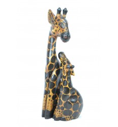 "Statues ""Giraffe and his girafon"" wood H50cm. Deco Safari Savanna Africa."