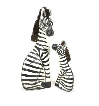 "Statues ""Mother zebra and her zébron"" wood H50cm. Deco Safari Savanna Africa."