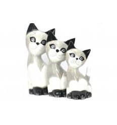Lot 3 statuettes famille chats et chaton en bois