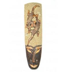 Maschera africana 50cm di decorazione 2 Gechi, sabbia e conchiglie, Conchiglie di ciprea