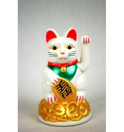 Maneki neko / Petit Chat japonais blanc - Porte bonheur