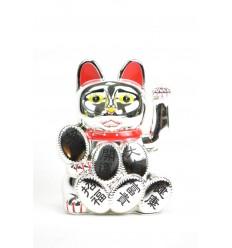 Maneki neko / Chat japonais argenté - Porte-bonheur