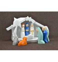 Christmas crib wood and 9 santons colors. Deco Christmas made by hand..