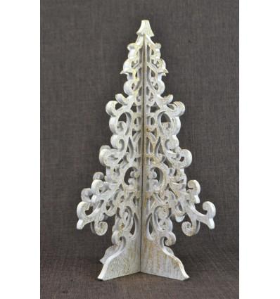 Sapin de Noël doré bois 30cm style baroque. Déco Noël fait main.
