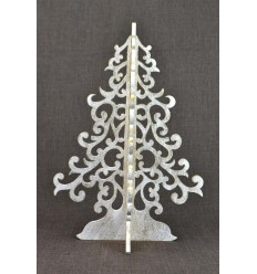 Christmas tree golden 40cm wood. Christmas decoration original.