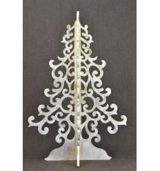 Large Christmas tree golden 50cm wood. Decoration Christmas interior.