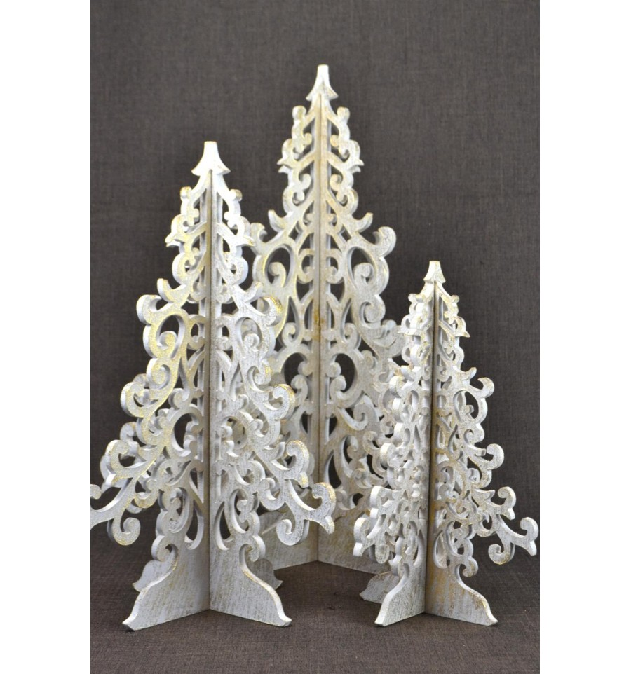 D coration de no l fait main lot 3 grands arbres - Decoration de noel fait main ...