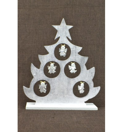 Christmas tree table decor angels H30cm. Wood silver patina.