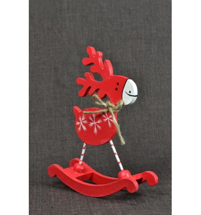 Statuette Reindeer red toggle. Christmas decoration in wood.