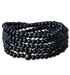 Bracelet Tibétain, Mala en perles de bois noir 6mm.